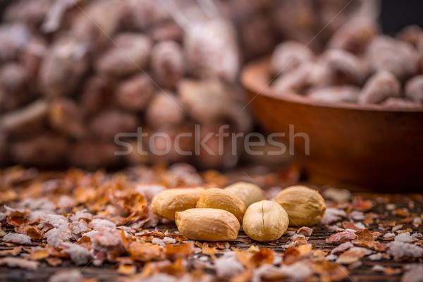 Pörkölt sózott földimogyoró kagylók étel mag Stock fotó © grafvision
