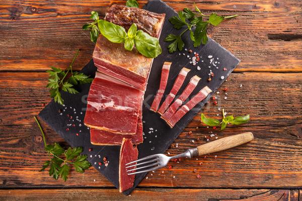 Dilim prosciutto otlar baharatlar gıda yaprak Stok fotoğraf © grafvision