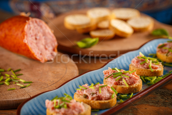 Pate with fresh baguette Stock photo © grafvision