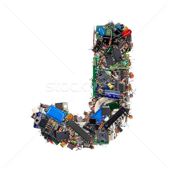 Letter J made of electronic components Stock photo © grafvision