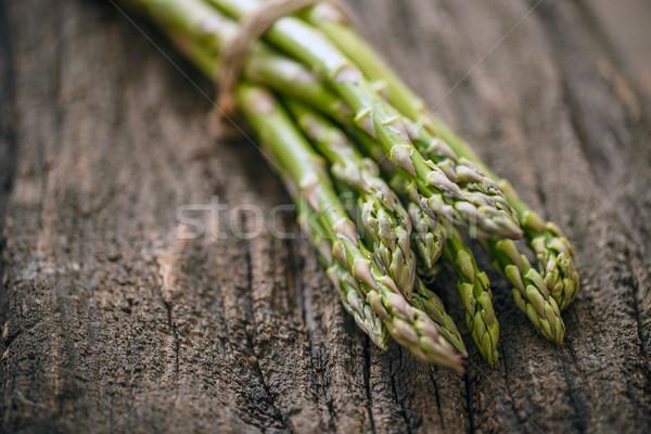Vers ruw asperges rustiek houten gezondheid Stockfoto © grafvision