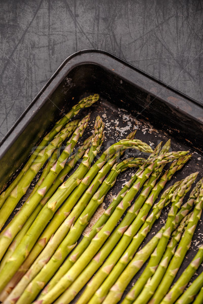 Asperges noir cuisson plateau santé fond Photo stock © grafvision