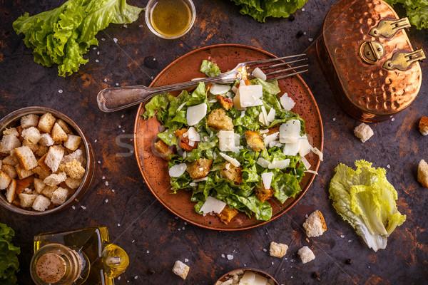 Frescos ensalada cesar parmesano verde queso cena Foto stock © grafvision