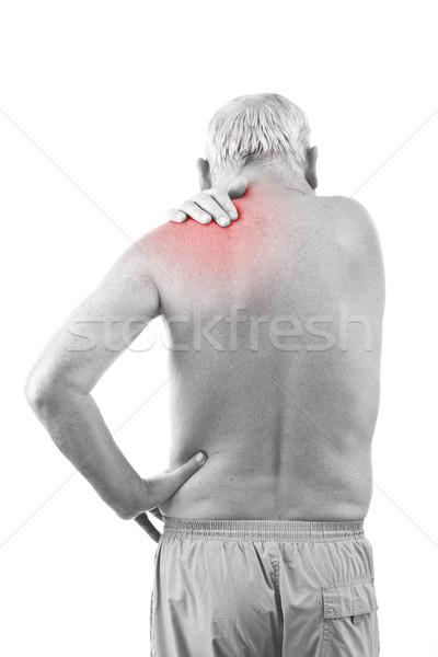 Man nekpijn senior geïsoleerd witte hand Stockfoto © grafvision