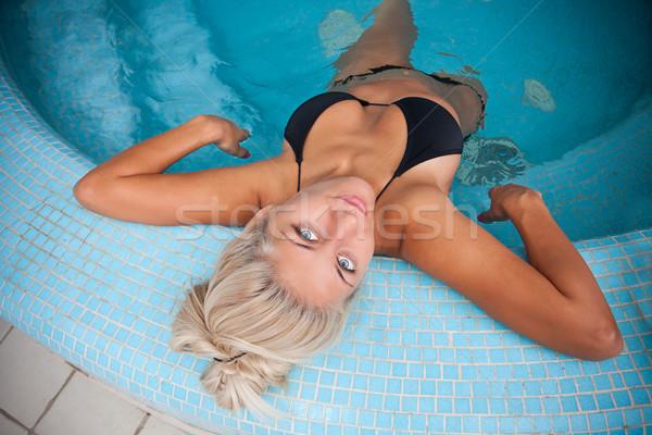 женщину джакузи красивой расслабляющая волос Сток-фото © grafvision