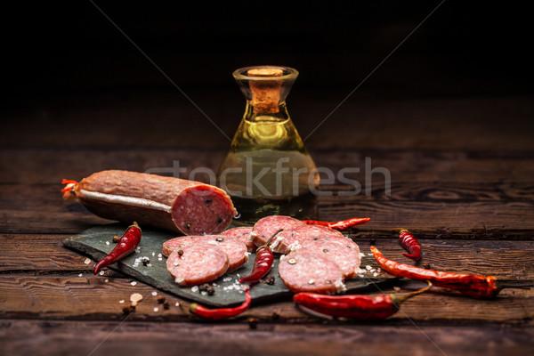 Salame mesa de madeira madeira carne conselho Foto stock © grafvision