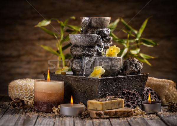Spa-behandeling houten water achtergrond massage ontspannen Stockfoto © grafvision