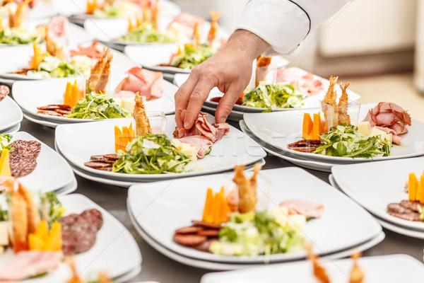 Antipasto lastre chef ristorante cucina Foto d'archivio © grafvision