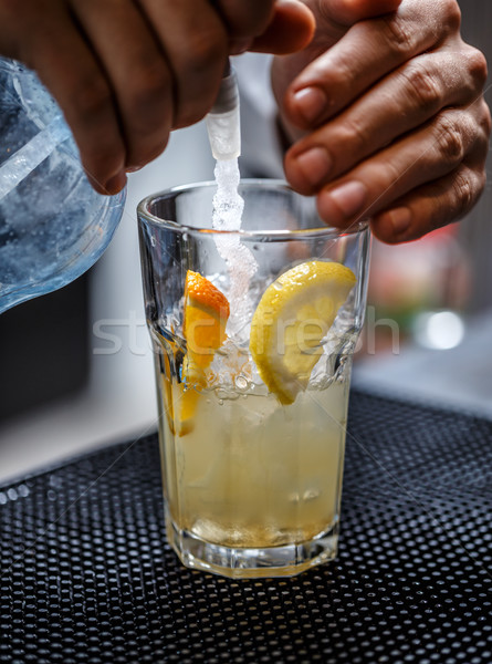 Bartender is pouring soda water Stock photo © grafvision