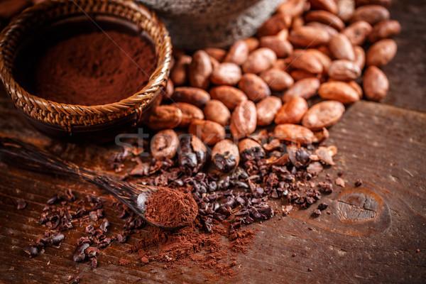 Foto stock: Orgânico · cacau · feijões · pó · colher · chocolate