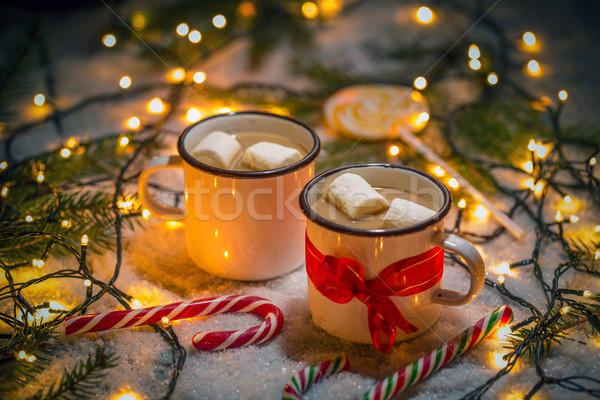 Chocolate caliente malvavisco Navidad café luz Foto stock © grafvision