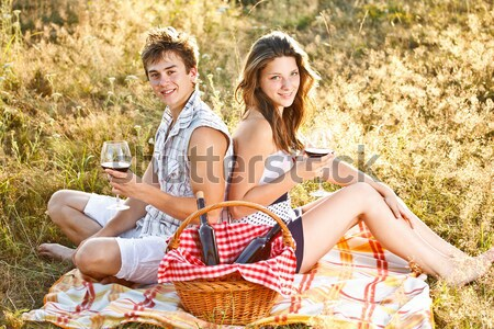 Fiatal pér ül hát természet fű bor Stock fotó © grafvision