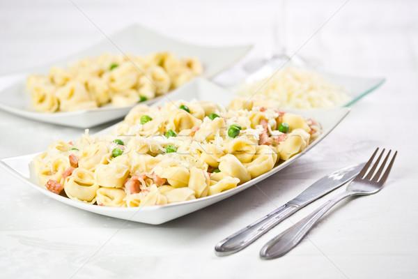 Frescos tortellini tocino delicioso italiano alimentos Foto stock © grafvision