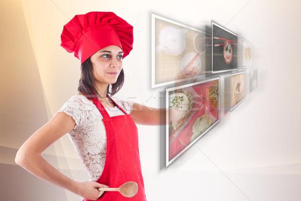 Nő kiválaszt képek szakács technológia képernyő Stock fotó © grafvision