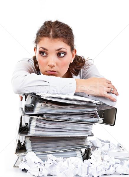 Moe zakenvrouw vrouw werk werknemer corporate Stockfoto © grafvision