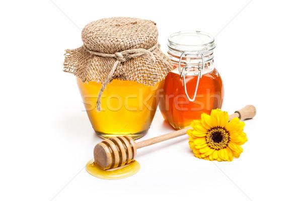 Foto d'archivio: Miele · completo · pot · stick · vetro · bianco