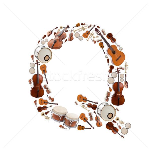 Hangszerek levél ábécé fehér q betű fa Stock fotó © grafvision