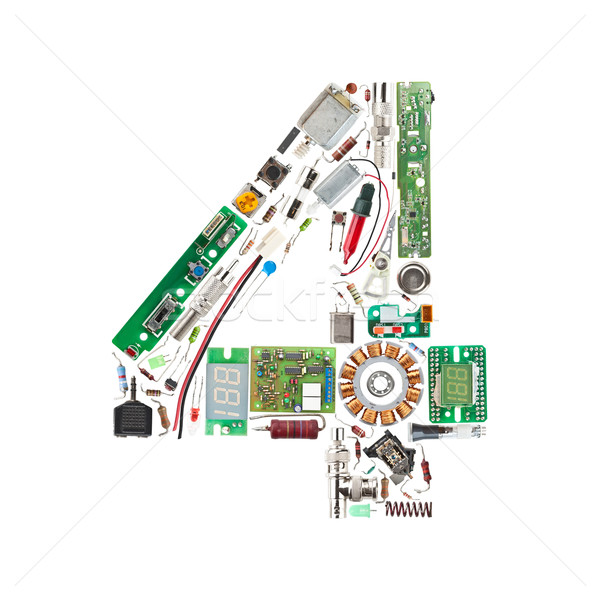 Number '4' made of electronic components Stock photo © grafvision