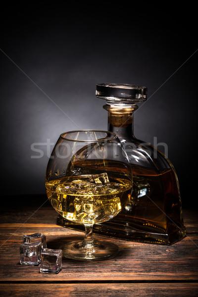 Cognac brandy table en bois fond bar bouteille Photo stock © grafvision