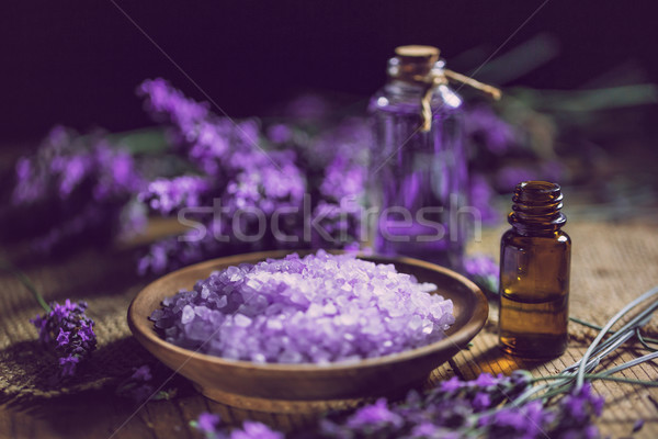Essential oil and lavender bath salt Stock photo © grafvision