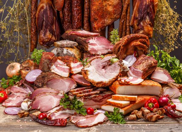 Varkensvlees vlees producten stilleven voedsel Stockfoto © grafvision