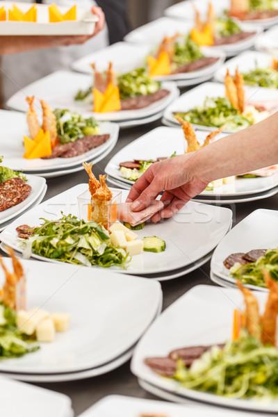 Cuoco antipasto lastre ristorante cucina bordo Foto d'archivio © grafvision