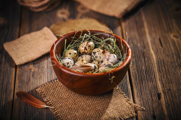 Fresh quail egg in bowl Stock photo © grafvision