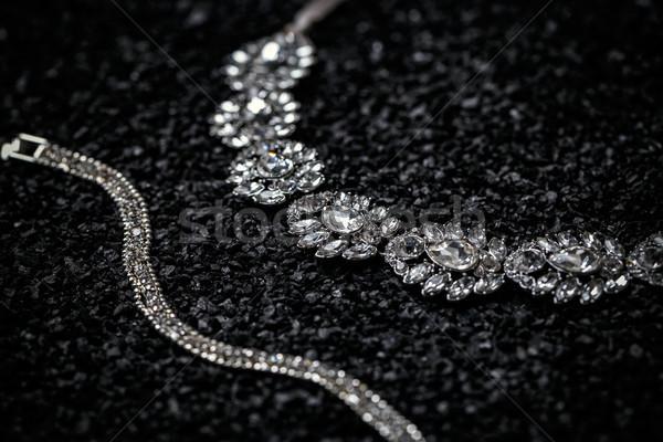 Ketting armband zwarte schoonheid steen diamant Stockfoto © grafvision