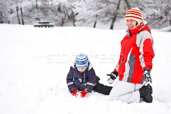 Anne çocuk oynama kar gülümseme kış Stok fotoğraf © grafvision