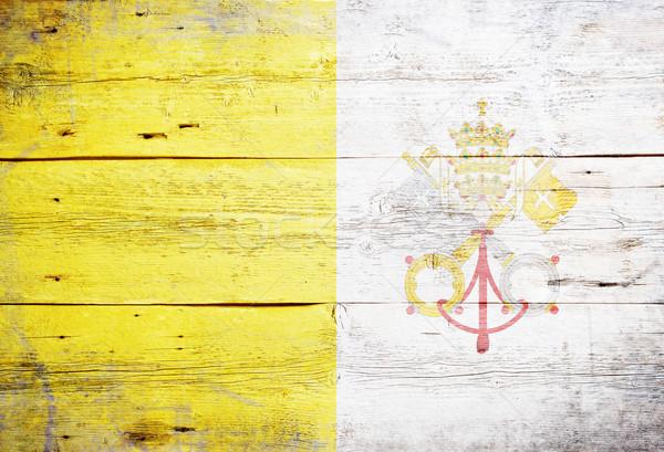 флаг Ватикан окрашенный древесины доска Сток-фото © grafvision