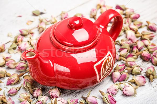 Rojo tetera secado aumentó brote espacio Foto stock © grafvision