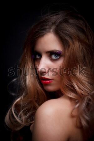 Portré fiatal nő fiatal gyönyörű nő trendi smink Stock fotó © grafvision
