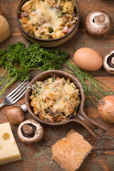 Pane piatto formaggio funghi prosciutto vintage Foto d'archivio © grafvision