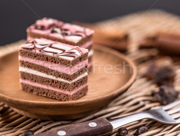 レイヤード ミニ ケーキ 務め プレート テクスチャ ストックフォト © grafvision