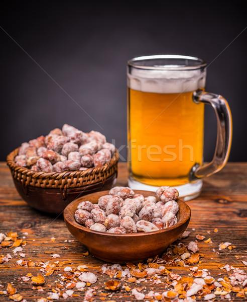 Amendoins cerveja comida álcool Foto stock © grafvision