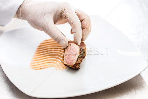 повар профессиональных кухне ресторан мяса Сток-фото © grafvision