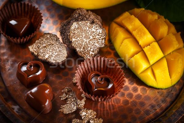 Dark chocolate praline Stock photo © grafvision
