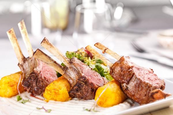 Foto stock: Cremalheira · cordeiro · fundo · carne · churrasco
