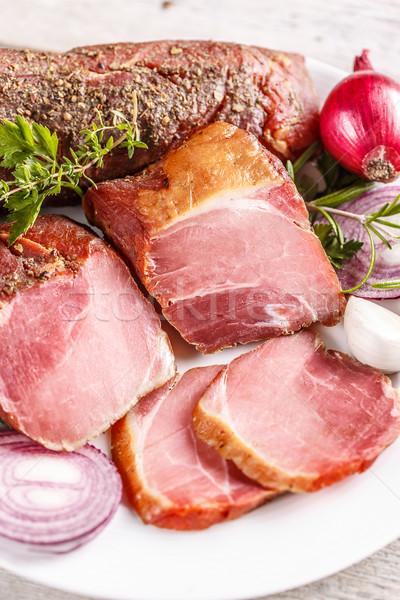 Disznóhús vesepecsenye hús szeletel füstölt fehér Stock fotó © grafvision