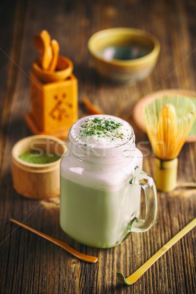 зеленый чай стекла Кубок древесины Сток-фото © grafvision
