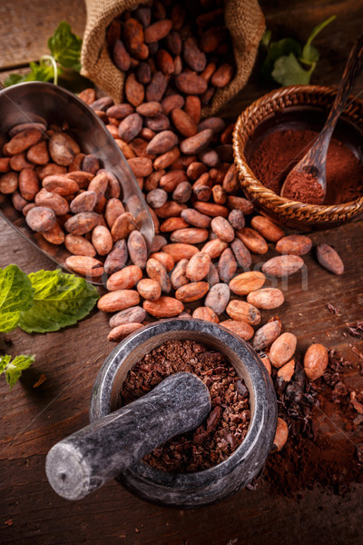 Roasted cocoa beans Stock photo © grafvision