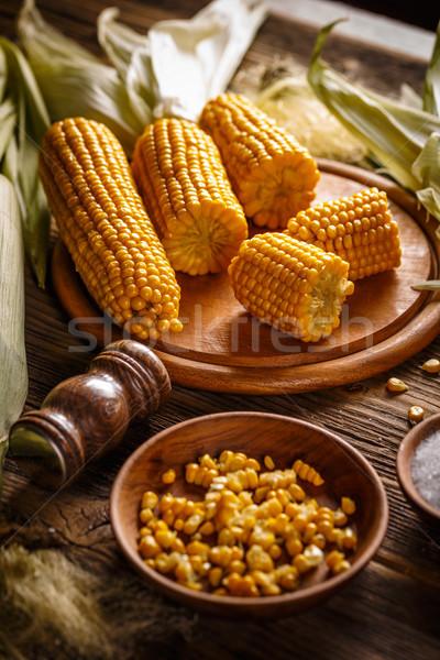 Főtt kukorica só tányér fa deszka étel Stock fotó © grafvision