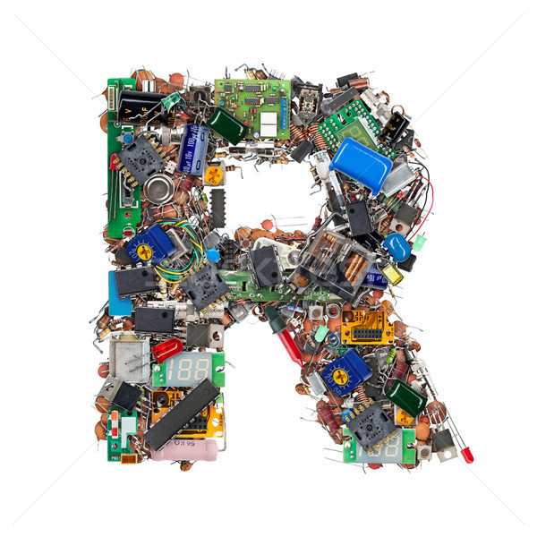 Letra r eletrônico componentes isolado branco tecnologia Foto stock © grafvision