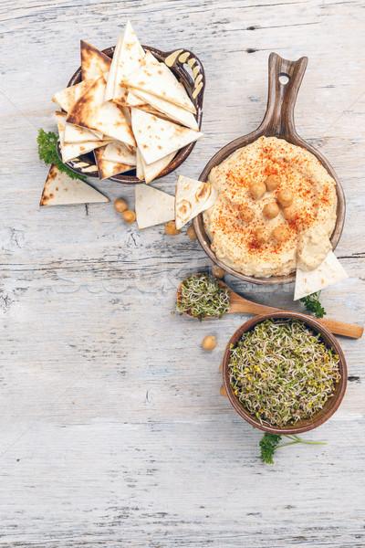 Sağlıklı vegan geleneksel Arapça hizmet Stok fotoğraf © grafvision