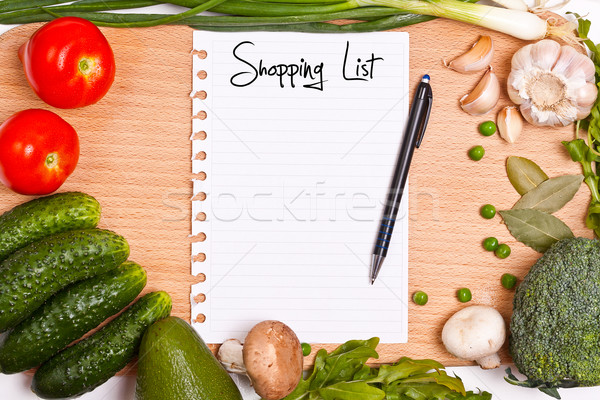 Winkelen lijst boekje pagina papier Stockfoto © grafvision