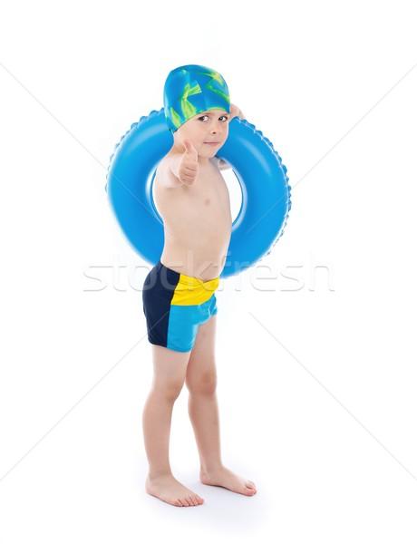 Erkek oynama mavi hayat halka komik Stok fotoğraf © grafvision