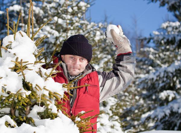 若い男 演奏 雪玉 屋外 冬 公園 ストックフォト © grafvision