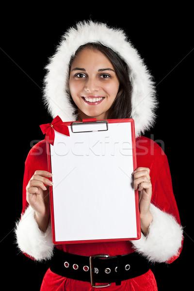Stock fotó: Nő · mikulás · visel · gyönyörű · karácsony · tart