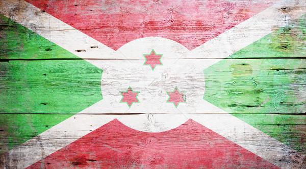 Bandeira Burundi pintado sujo madeira Foto stock © grafvision
