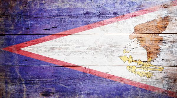 Vlag Amerikaans Samoa geschilderd hout plank Stockfoto © grafvision